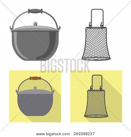 Vector Illustration Of Fish And Fishing Sign. Collection Of Fish And Equipment Stock Vector Illustra