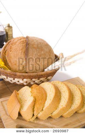 Sliced Corn Bread And Wheat Bread In Basket