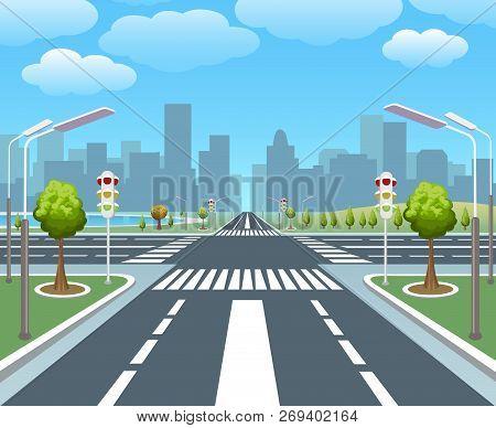 Empty City Road. Sidewalk, Pedestrian Street Vector Illustration, Crossing Roads, City Highway And T