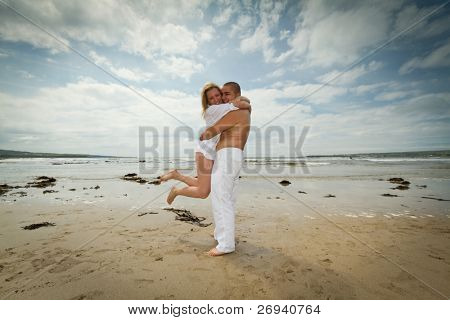 Couple on romantic date at the beach