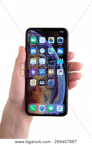 Rostov-on-don, Russia - November 2018. Apple Iphone Xs Max 6.5-inch Display In Hand On A White Backg
