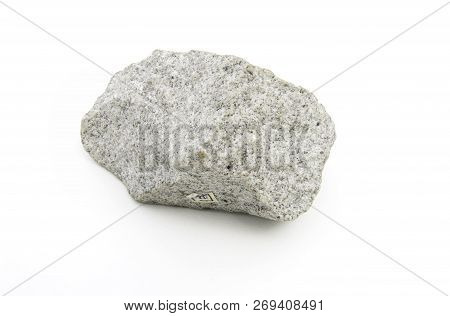 Close Up Of Magmatic Stone Isolated Over White Background