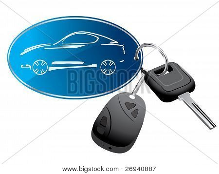 Llavero de coche con el vector de distancia