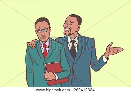 African Businessman Comforts Supports Sympathetic Feels Other Sad. Comic Cartoon Pop Art Retro Vecto
