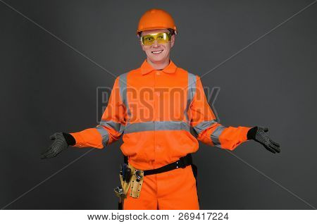 Guilty Builder Worker  Justifies About Lateness Of Construction And Spreads His Hands  Isolated On B