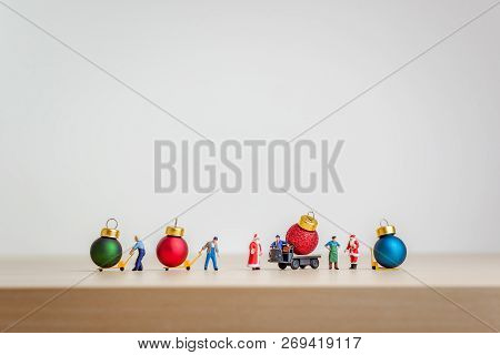 Christmas Decorative Balls On Delivery Truck As Christmas Transportation Concept.