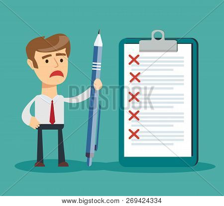 Sad Businessman Holding A Pencil Looking At Checklist On Clipboard. Stock Flat Vector Illustration.