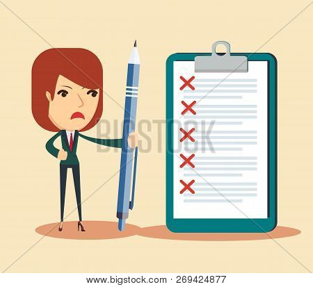 Sad Business Woman Holding A Pen Looking At Checklist On Clipboard. Stock Flat Vector Illustration.