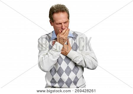 Sick Mature Man Having Infectious Cough. Mature Man Holding Chest And Having Flu Coughing, Isolated