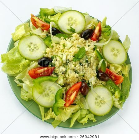 Plate with tabbouleh salad