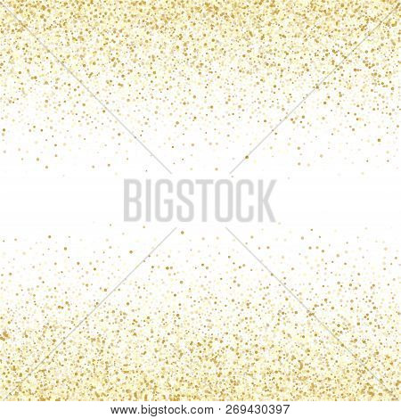 Gold Sparkles Glitter Dust Metallic Confetti Vector Background. Elegant Golden Sparkling Background.