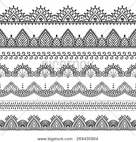 Seamless Lace Borders Set. Design Elements Can Be Used For Application Of Henna Tattoo, Washi Tapes,