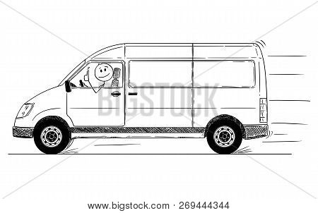 Cartoon Stick Drawing Conceptual Illustration Of Driver Of Fast Driving Generic Delivery Van Showing