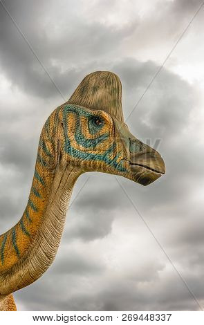 San Marco In Lamis, Italy - June 9: Lambeosaurus Dinosaur, Featured In The Dino Park In San Marco In