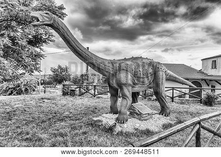 San Marco In Lamis, Italy - June 9: Saltasaurus Dinosaur, Featured In The Dino Park In San Marco In