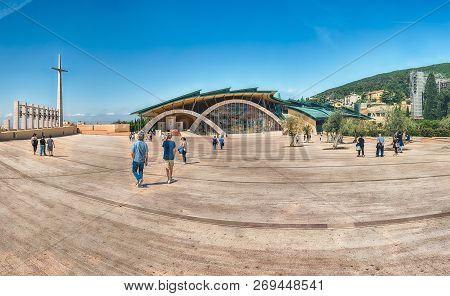 San Giovanni Rotondo, Italy - June 10: Panoramic View With Facade Of The Sanctuary Of Saint Pio Of P
