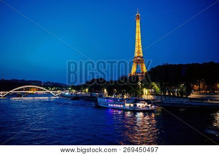 Paris, France-june 1, 2016 : Eiffel Tower With Illumination At Night In Paris, France. Romantic Trav