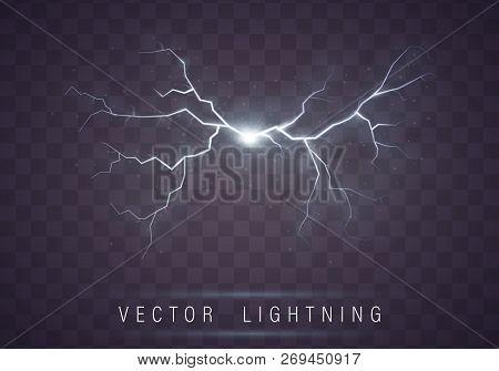Lightning Flash Bolt. Lightning Magic And Bright Light Effects.  Vector Realistic Lightning Rain Wea
