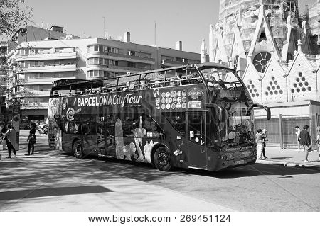 Barcelona, Spain - March 30, 2016: Barcelona City Tour Bus On Street. Sightseeing And Travelling. Tr
