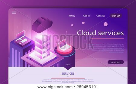 High Technology Concept, Data Center, Cloud Data Storage Isometric Vector. Cloud Computing Concept.