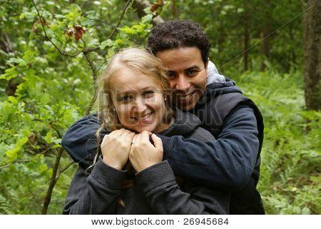 Mixed couple outdoor