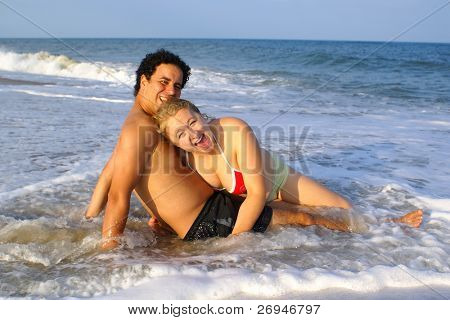 Inter-ethnic people at the seaside