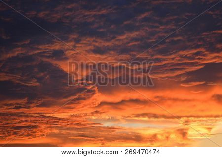 Dark Stormy Cloudy Sky Scary Dramatic Orange Clouds At Sunset / Bloody Sky Beautiful Storm Sky With