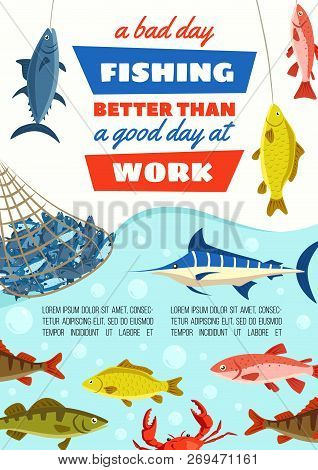 Fishing Sport Poster, Fish In Net At River Bank. Vector Carp Fish, Blue Marlin And Perch, Pike And H