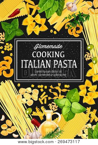 Italian Pasta With Herbs, Vector. Cuisine From Italy, Traditional Food. Spaghetti, Macaroni And Penn