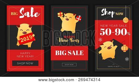 Modern Flat New Year Big Sales App Screen Or Instagram Template, Web Online Shopping Concept.newyear