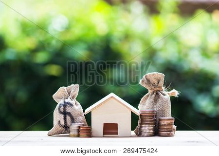 Home Loan, Mortgages, Debt, Savings Money For Home Buying Concept : Us Dollar In A Money Bag, Small