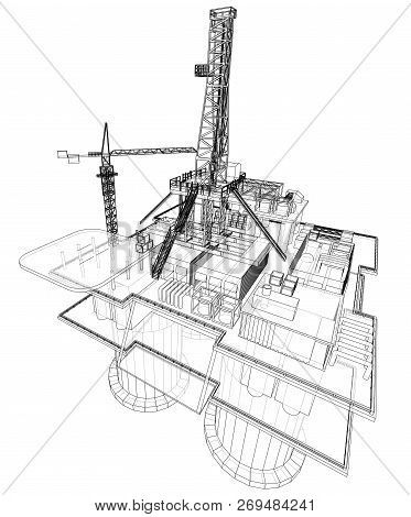 Offshore Oil Rig Vector Photo Free Trial