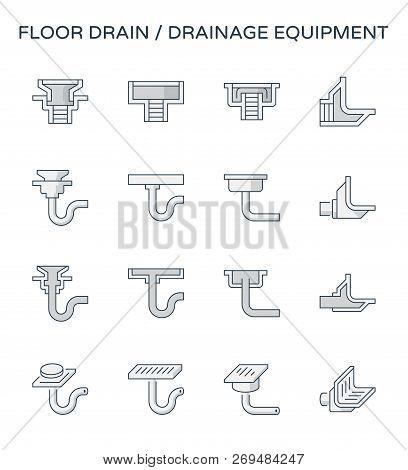 Floor Drain And Drainage Equipment  Icon Set, Editable Stroke.