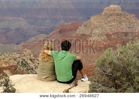Couple of tourists in Grand Canyon National Park - North Rim