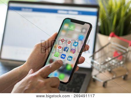 Bangkok, Thailand- November 20, 2018: Social Media App Multi-channel Icons On Iphone X Touchscreen M