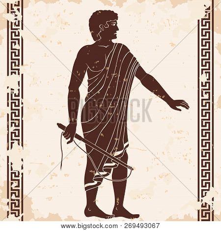 Ancient Greek Man With A Whip In His Hand. Manager At The Household Yard. Figure On A Beige Backgrou