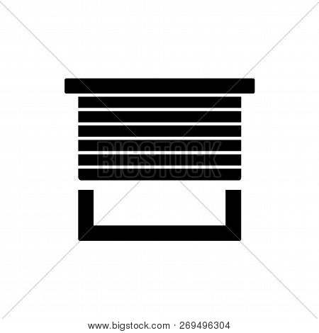 Black & White Vector Illustration Of Horizontal Blind. Flat Icon Of Sun Protection Shade. Window Jal