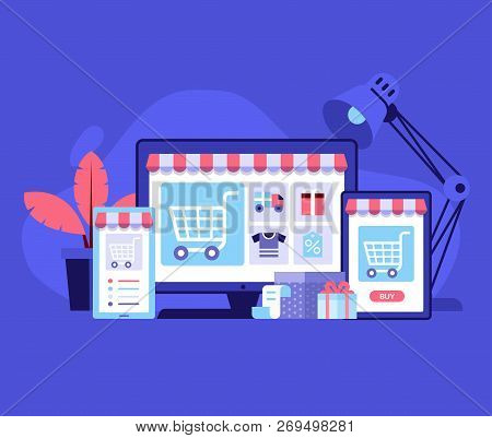 Internet Shopping Concept With Device Screens. Online Digital Store Application Banner In Flat Desig