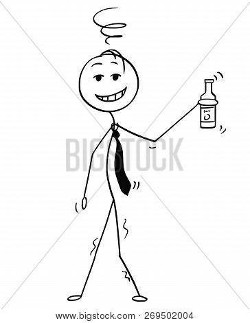 Cartoon Stick Drawing Conceptual Illustration Of Cheerful Or Jovial Drunk Man Or Businessman Holding