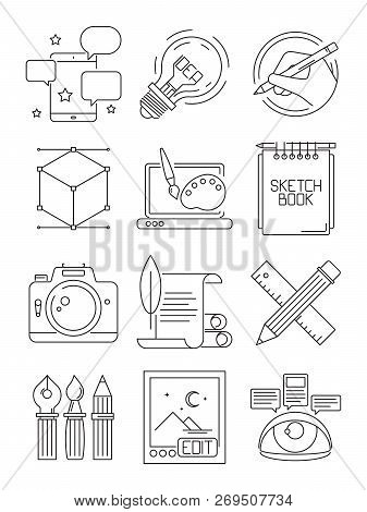 Creative Line Icons. Process Of Artists Branding Blogging Graphic Symbols Vector Arts Isolated. Bran