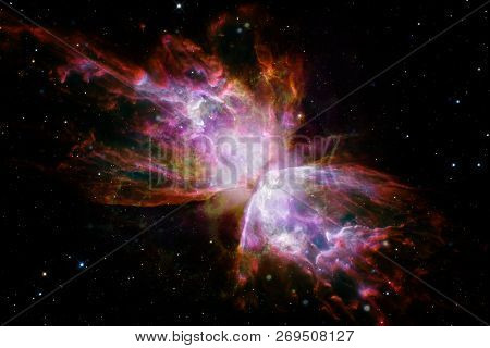 Beautiful Galaxy Background With Nebula, Stardust And Bright Stars. Elements Of This Image Furnished