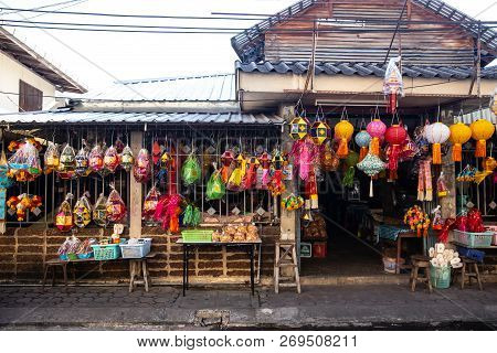 Colourful Lantern Shop In Market Sell For Decoration In  Loy Kratong Or Loi Kra Tong Event In Thaila