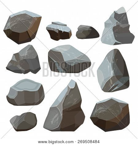 Stones Cartoon. Rock Mountains Flagstone Rocky Vector Illustrations Isolated On White Background. St
