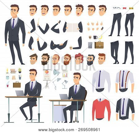 Manager Creation Kit. Businessman Office Person Arms Hands Clothes And Items Vector Male Character A