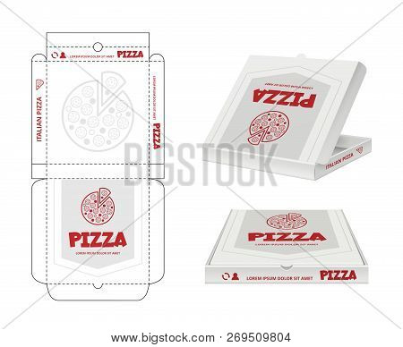 Pizza Box Design. Unwrap Fastfood Pizza Package Realistic Template Business Identity Vector. Pizza B