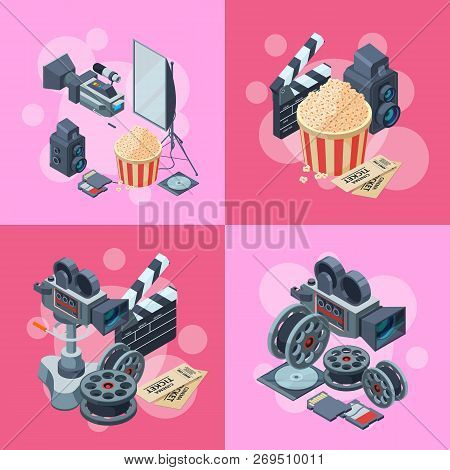 Vector Cinematograph Isometric Elements Infographic Concept Illustration. Cinema Movie, Entertainmen