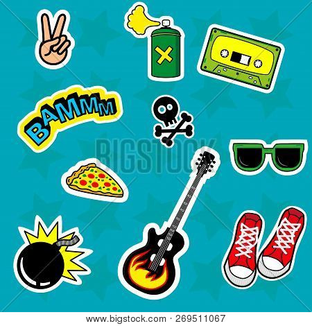 Fashion Patch Stickers Badges With Skull, Love, Boom, Glasses, Peace, Bomb, Guitar, Pizza, Sneakers