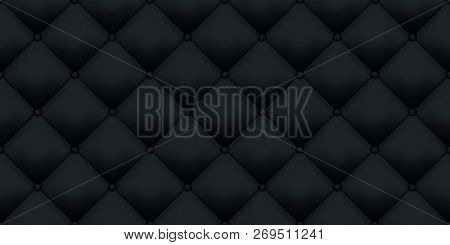 Black Leather Upholstery Vintage Luxury Texture Pattern Background. Vector Royal Sofa Leather Uphols