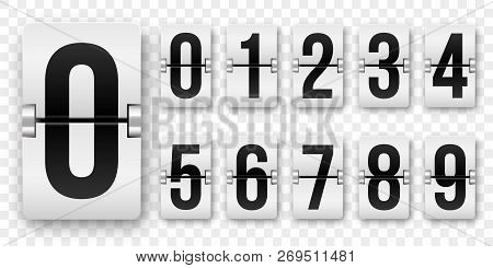 Countdown Numbers Flip Counter. Vector Isolated 0 To 9 Retro Style Flip Clock Or Scoreboard Mechanic