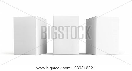 Box Mock-up Set. Vector Isolated 3d White Carton Cardboard Or Paper Package Boxes Models Templates,